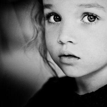 little girl black and white